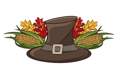 pilgrim hat with autumn leaf and corn vegetable vector illustration design Stock fotó - 133856212
