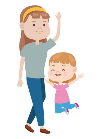 Family single mother playing and smiling with daughter cartoon ,vector illustration graphic design.