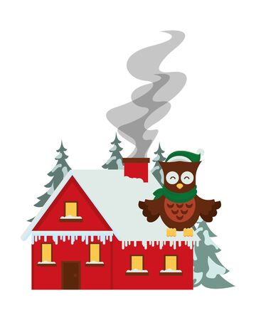 happy merry christmas house with owl vector illustration design