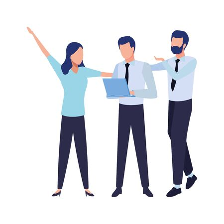three businesspartners working with laptop and office supplies colorful isolated faceless avatar vector illustration graphic design Ilustracja