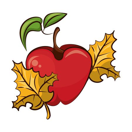 apple fresh fruit with autumn leafs nature icon vector illustration design
