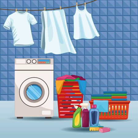 House keeping and laundry supplies washing machine with clothing and cleaning products scene elements cartoon vector illustration graphic design