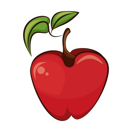 apple fresh fruit nature icon vector illustration design