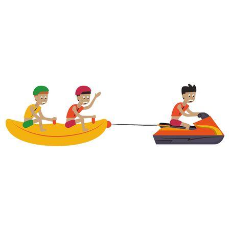 two men in banana float fun entertainment isolated cartoon vector illustration graphic design Ilustracja
