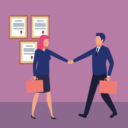 business people businessman and businesswoman shaking hands and carrying a briefcase avatar cartoon character indoor with certificated frame vector illustration graphic design