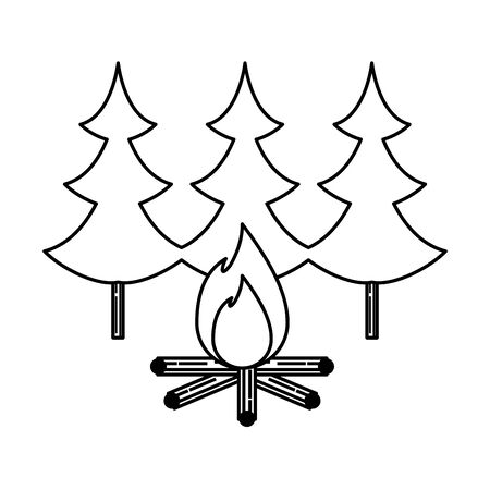 pines trees forest scene with campfire vector illustration design Stock Illustratie
