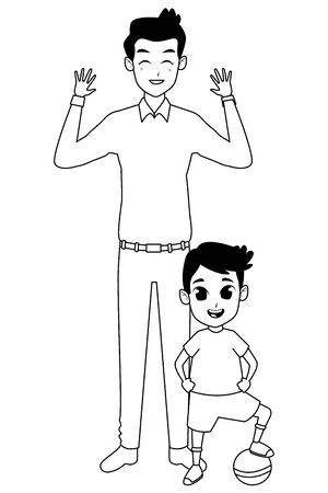 Family single father with little son with ball cartoon vector illustration graphic design Illustration