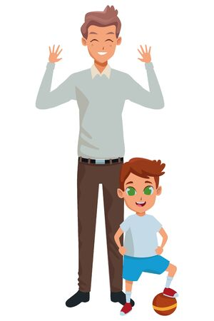 Family single father with little son with ball cartoon vector illustration graphic design Ilustracja