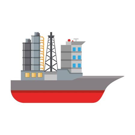 Oil refinery ship with pumps symbol isolated vector illustration graphic design 일러스트
