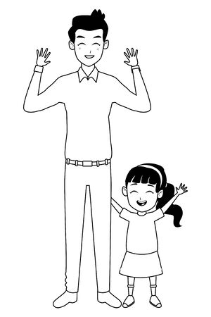 Family single father and little daughter smiling cartoon vector illustration graphic design