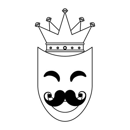 party mask moustache style with crown festive carnival costume celebration decoration cartoon vector illustration graphic design