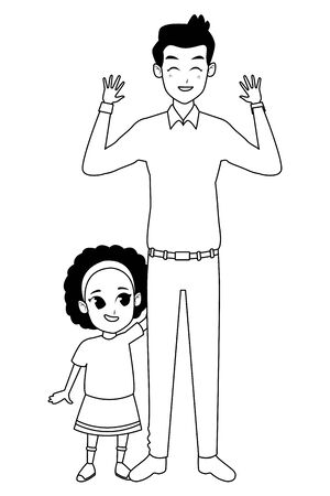 Family single father and little daugther smiling cartoon vector illustration graphic design Ilustracja