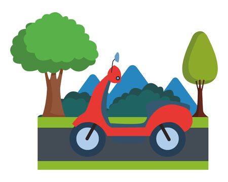 Scooter motorcycle vehicle sideview cartoon on highway with landscape scenery ,vector illustration graphic design.