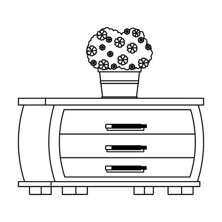 furniture house interior with chest of drawers and a plant pot icon cartoon in black and white vector illustration graphic design Illusztráció