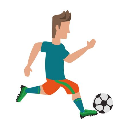 Soccer player kicking ball cartoon isolated vector illustration graphic design Ilustração