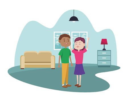 young couple characters in the livingroom vector illustration design