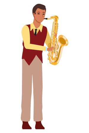 musician playing saxophone avatar cartoon character vector illustration graphic design