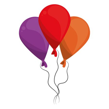 balloons festive party decoration isolated cartoon vector illustration graphic design