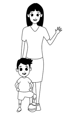 Family single mother with little boy playing with ball cartoon vector illustration graphic design