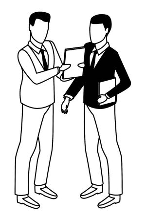 technology software businessmen with diary symbol vector illustration graphic design Ilustracja
