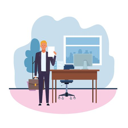 executive man at the office with desk and computer over white background, vector illustration