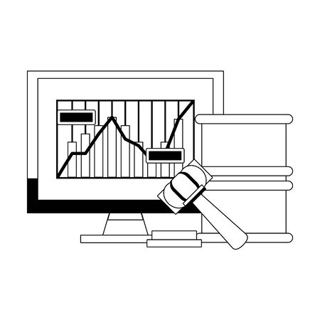 Online stock market investment computer with graph and gavel with barrel symbols in black and white vector illustration