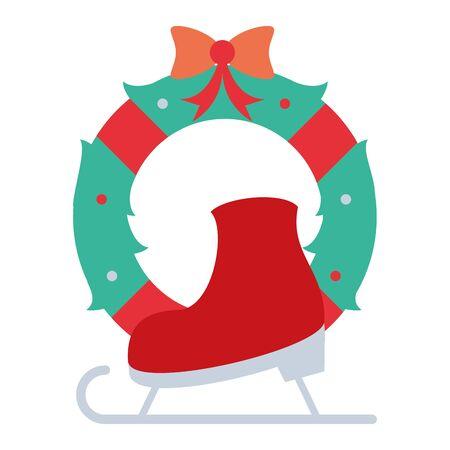 merry christmas wreath crown with snow skate vector illustration design Illusztráció