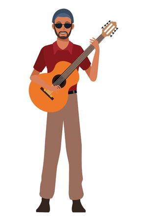 musician playing guitar avatar cartoon character vector illustration graphic design