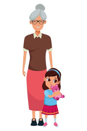 Family grandmother taking care of granddaughter with teddy vector illustration graphic design