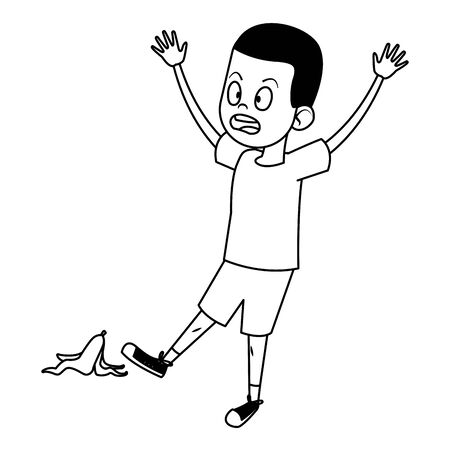 boy surprised face sliding with banana peel on the ground black and white vector illustration graphic design