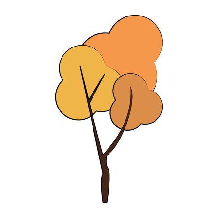 Autumn season tree nature cartoon isolated vector illustration graphic design Ilustracja