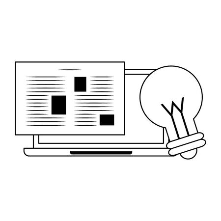 computer with paper page and light bulb over white background, vector illustration