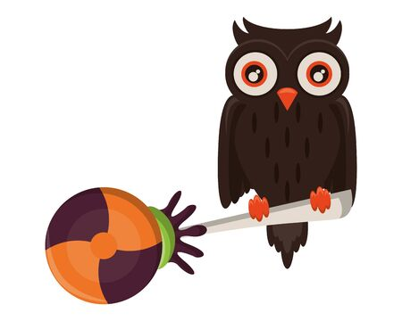 halloween sweet candy with owl bird vector illustration design