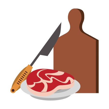 Barbecue food skeat and knife in dish with table vector illustration graphic design