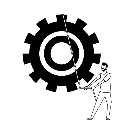 big gear wheel and avatar man icon over white background, vector illustration