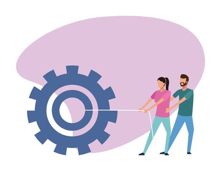 avatar man and woman pulling a big gear wheel over white background, colorful design , vector illustration