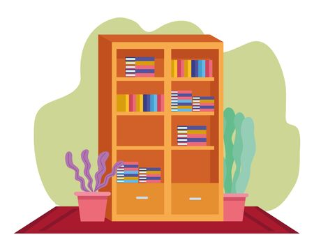 Office workplace library with books and plant pots elements cartoons ,vector illustration graphic design. 일러스트