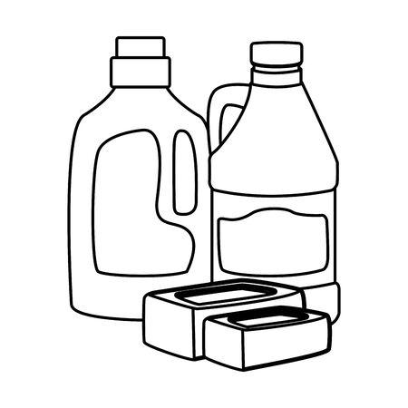 laver le linge et nettoyer la barre de savon, la bouteille de détergent et l'icône d'eau de Javel dessin animé en noir et blanc illustration vectorielle design graphique Vecteurs