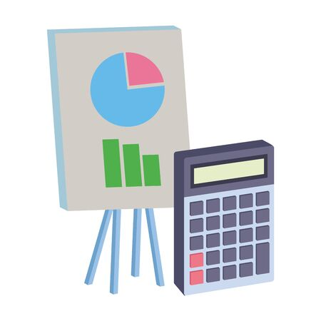 Office elements and business symbols graphs on whiteboard and calculator ,vector illustration graphic design.