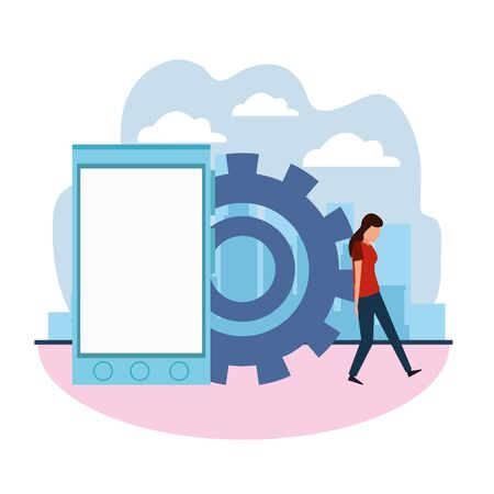 woman pushing a gear wheel and smartphone device over white background, colorful design , vector illustration Illusztráció