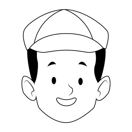 cartoon happy boy wearing a hat over white background, vector illustration