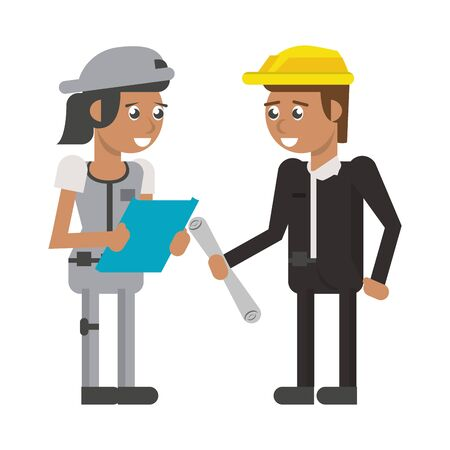 Construction worker with clipboard and architect with plans vector illustration graphic design
