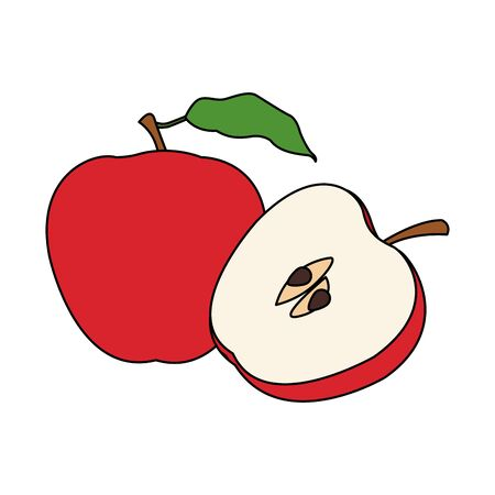 red apple fruit icon over white background, flat design. vector illustration