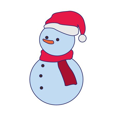 snowman with scarf and christmas hat over white background, vector illustration