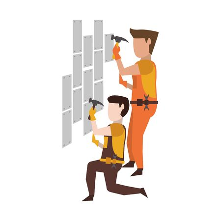 Contruction workers with hammer fixing wall vector illustration graphic design Illusztráció