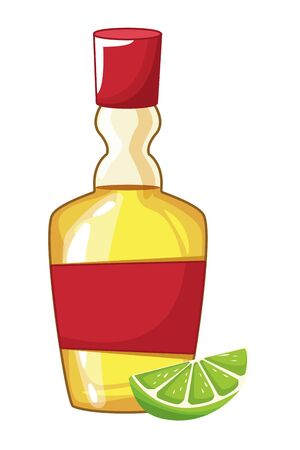 mexican traditional culture with tequila bottle and lemon icon cartoon vector illustration graphic design Çizim