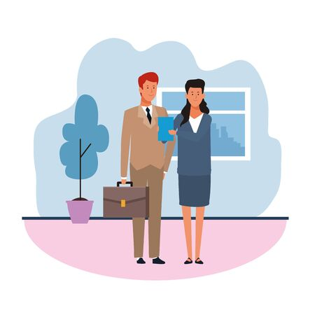 Business man and woman in the office over white background, colorful design. vector illustration Иллюстрация