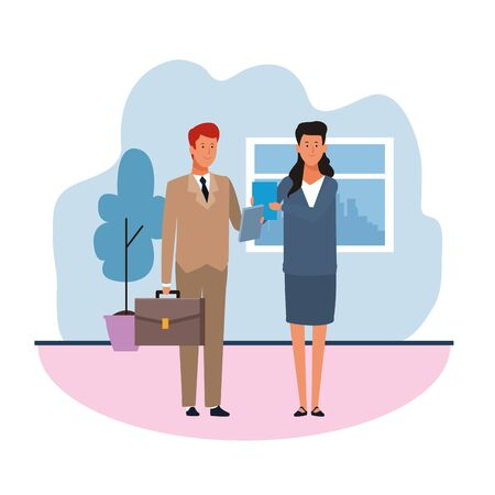 Business man and woman in the office over white background, vector illustration Иллюстрация