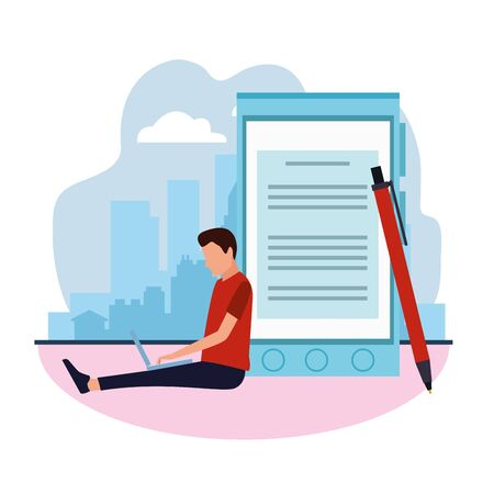 big pen and smarpthone and man using a laptop computer around over white background, colorful design , vector illustration