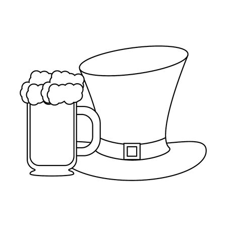 saint patricks day irish tradition leprechaun hat with green beer cartoon vector illustration graphic design Ilustracja